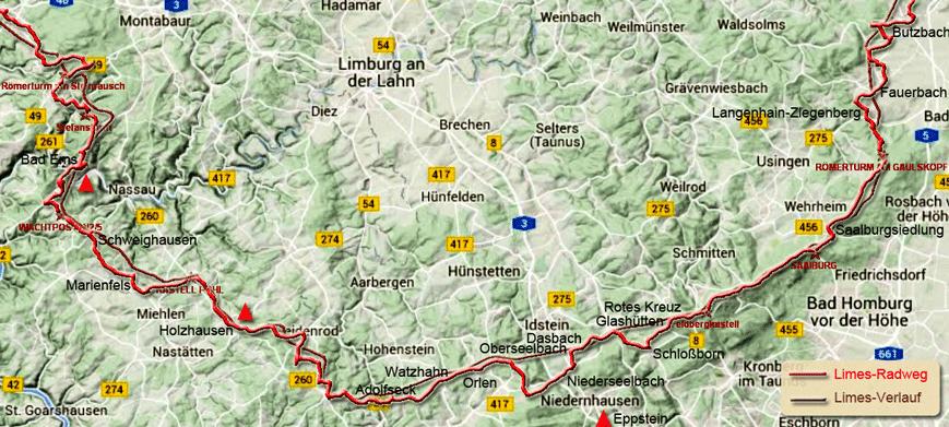 bad ems karte Limes Radweg von Bad Hönningen nach Regensburg: Abschnitt Bad Ems  bad ems karte