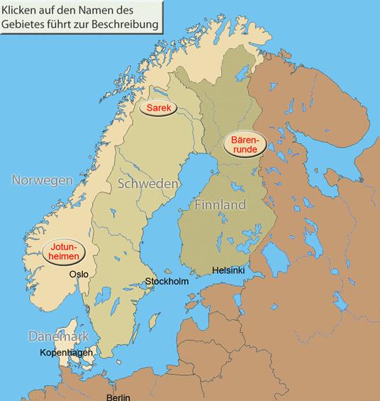 Karte Skandinavien.Wanderungen Trekking Skandinavien übersicht Mit Allen