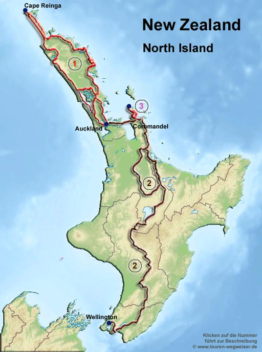 Neuseeland Nordinsel Karte.Radtouren In Neuseeland übersicht Mit Allen Radwegen Im Touren