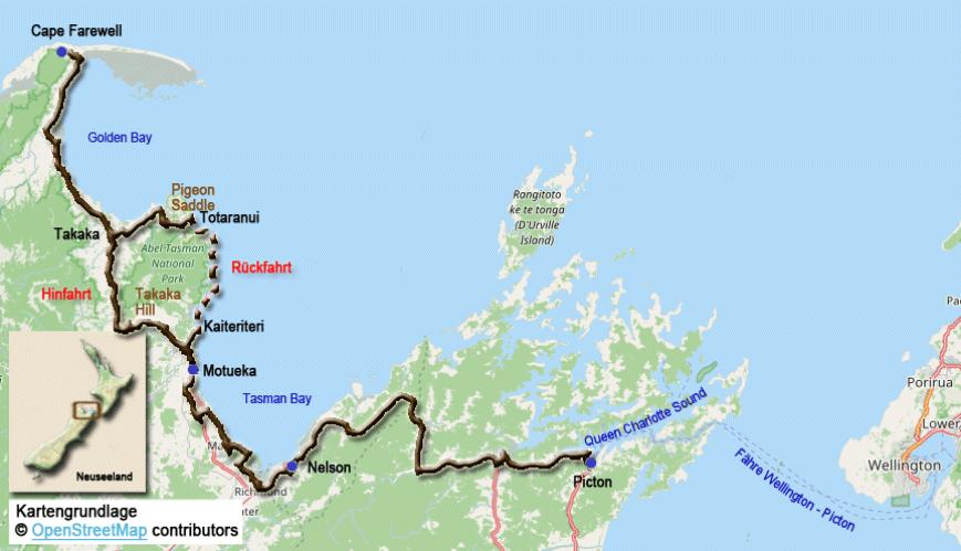 südinsel neuseeland karte