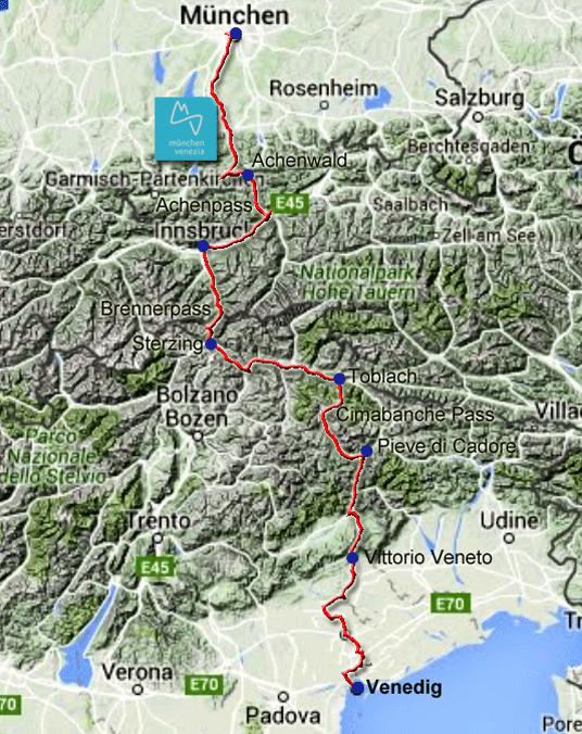 Venedig Karte.Radweg Von Munchen Uber Den Brenner Pass Nach Venedig