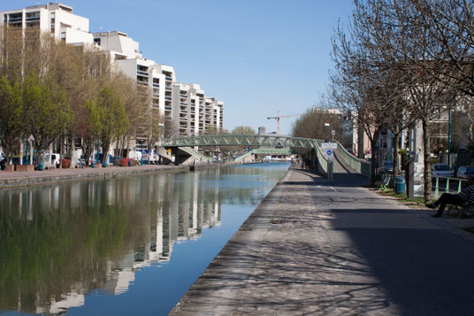 Paneuropa-Radweg am Canal de l'Ourcq in Paris