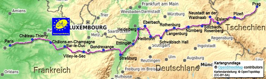 Prag Karte Europa.Paneuropa Radweg Beschreibung Des Radweges Von Paris Nach Prag