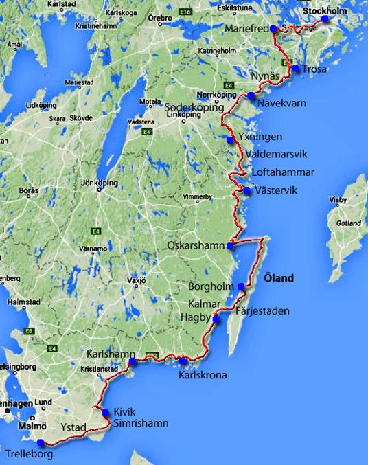 Schweden Karte Pdf.Radweg Durch Schweden Von Stockholm Nach Trelleborg